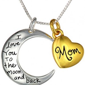 Two tone sterling silver mom i love you to the moon and back heart two toned sterling silver with yellow gold flashed mozeypictures Choice Image