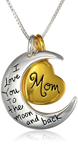 Two Toned Sterling Silver With Yellow Gold Flashed Heart Mom I Love You